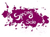 Vector lettering Spring Sale on crimson blotch. Message Spring sale. Hand lettring Spring sale on crimson blotch with texture. It is a hand drawn. Lettering on vector illustration