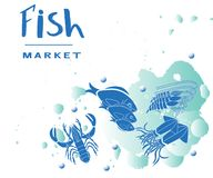 Vector lettering of  text Ffish market. Modern calligraphy.Template of logotype of fish shop, label, icon, tag, banner, background. Inscription for packing Stock Photography