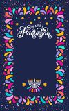 Vector lettering text Happy Hanukkah. Jewish Festival of Lights celebration, festive frame, menorah, David Star,candle. Vector lettering hand written text stock illustration