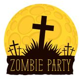 Halloween lettering with crosses on cemetery. Vector lettering for Zombie party with crosses on the cemetery on the background of full moon. Halloween Stock Photo