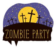 Halloween lettering with crosses on cemetery. Vector lettering for Zombie party with crosses on the night cemetery on the background of full moon. Halloween Royalty Free Stock Image