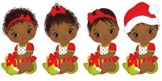 Vector Leuk Afrikaans Amerikaans Babymeisje die Kerstmiskleren dragen Stock Foto