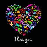 Vector leuk krabbel bloemen kleurrijk hart royalty-vrije illustratie