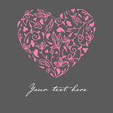 Vector leuk krabbel bloemen roze hart royalty-vrije illustratie