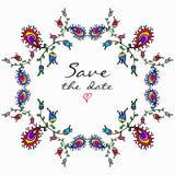 Vector leuk krabbel kleurrijk bloemenkader stock illustratie