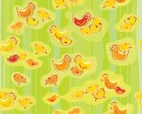 Vector leuk naadloos kippenpatroon Stock Afbeeldingen
