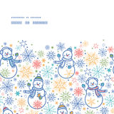Vector leuk naadloos sneeuwmannen horizontaal kader Stock Afbeeldingen