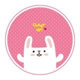 Vector leuk wit konijn, toejuiching voor u Royalty-vrije Stock Fotografie