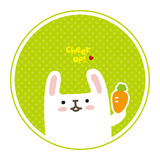 Vector leuk wit konijn, toejuiching voor u Stock Foto