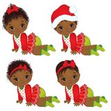 Vector Leuke Afrikaanse Amerikaanse Babymeisjes die Kerstmiskleren dragen Stock Foto