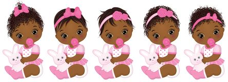 Vector Leuke Afrikaanse Amerikaanse Babymeisjes met Diverse Kapsels vector illustratie