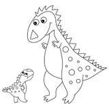 Vector leuke Beeldverhaaldinosaurus met Weinig Baby Dino Royalty-vrije Stock Afbeeldingen