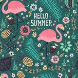 Vector leuke flamingo met tropische vruchten, installaties en bloemen Naadloos patroon royalty-vrije illustratie