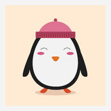 Vector leuke gelukkige vlakke wilde dierlijke pinguïn in roze hoed met pom pom Stock Afbeeldingen