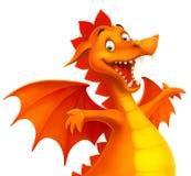 Vector leuke het glimlachen gelukkige draak als beeldverhaal of stuk speelgoed Royalty-vrije Stock Afbeelding