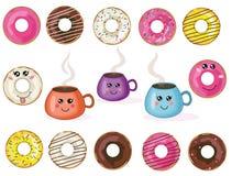 Vector leuke kawaii donuts en koppeninzameling, reeks stock illustratie