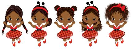 Vector leuke kleine Afrikaanse Amerikaanse meisjes met diverse kapsels vector illustratie