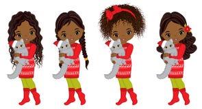 Vector Leuke Kleine Afrikaanse Amerikaanse Meisjes met Katten vector illustratie
