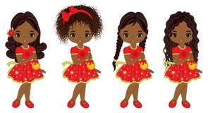 Vector Leuke Kleine Afrikaanse Amerikaanse Meisjes met Kerstmisballen Stock Foto's