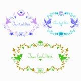 Vector leuke krabbel kleurrijke bloemenkaders royalty-vrije illustratie