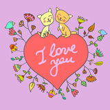 Vector leuke krabbelkatten in liefde stock illustratie