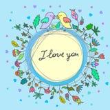 Vector leuke krabbelvogels in liefde stock illustratie