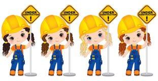 Vector Leuke Meisjes die het Teken houden - in aanbouw Vector Kleine Bouwers vector illustratie