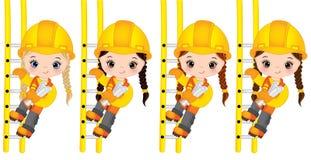 Vector Leuke Meisjes die op de Ladder en Holdingstekeningen beklimmen Vector Kleine Bouwers royalty-vrije illustratie