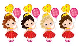 Vector Leuke Meisjes met Ballons royalty-vrije illustratie