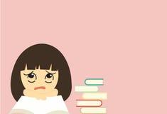 Vector leuke van de beeldverhaalmeisje en kleur boeken op roze achtergrond Stock Afbeelding