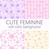 Vector leuke vrouwelijke patroonachtergrond met mooie zachte kleur Stock Afbeeldingen