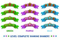 Vector Level complete ranking banners with wood stars on colored ribbon. Level complete templates, wood stars rank on colored ribbon, assets for games design Royalty Free Stock Photography