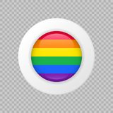 Vector LGBT flag sign on transparent background.  rainbow circle symbol. Glossy icon Royalty Free Stock Photo