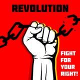 Vector a liberdade, fundo do conceito do protesto da revolução com punho aumentado Foto de Stock Royalty Free
