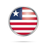 Vector Liberian flag button. Liberia flag in glass button style. Royalty Free Stock Images