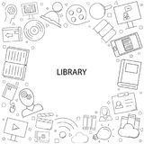 Vector Library and Online Library pattern. Library and Online Library seamless background. Vector illustration Stock Photo