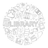 Vector Library and Online Library pattern. Library and Online Library seamless background. Vector illustration Stock Images