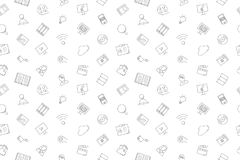 Vector Library and Online Library pattern. Library and Online Library seamless background. Vector illustration Stock Photos