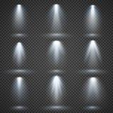 Vector lichtbronnen, overlegverlichting, geplaatste stadiumschijnwerpers stock illustratie