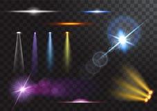 Vector lichtbronnen, overlegverlichting, geplaatste stadiumschijnwerpers Overlegschijnwerper met straal, verlichte schijnwerpers  stock illustratie