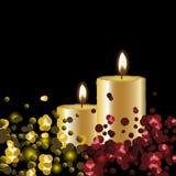Vector lichtenachtergrond met kaarsen royalty-vrije illustratie