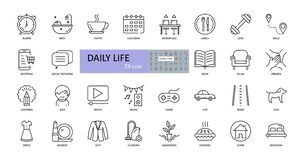Vector daily life icons. Editable Stroke. Daily routine