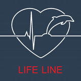 Vector life line dolphin and pulse in heart Royalty Free Stock Image