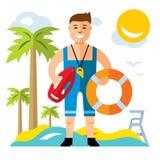 Vector Lifeguard. Flat style colorful Cartoon illustration. Royalty Free Stock Photos
