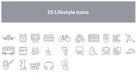 Blue Vector lifestyle icons set royalty free illustration