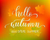 Vector lifestyle lettering Hello Autumn Royalty Free Stock Photo