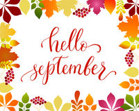 Vector lifestyle lettering Hello September Royalty Free Stock Images