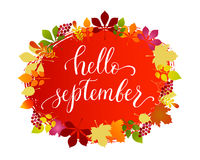 Vector lifestyle lettering Hello September. On gradient background with wreath of leaves. Hello September brush ink typography for photo overlays, t-shirt print Stock Photos