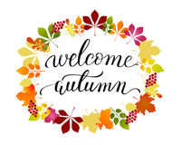 Vector lifestyle lettering Welcome Autumn Stock Photo