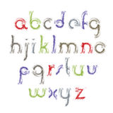Vector light acrylic alphabet letters set, hand-drawn colorful f. Rayed script, bright small letters drawn with ink brush Stock Image